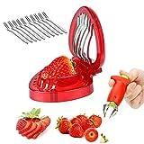 cersaty® Juego de removedor de fresas para extracción de fresas, para el extractor de tallos de fresa, utiliza y divide la fresa, incluye 10 tenedores de fruta de acero inoxidable.