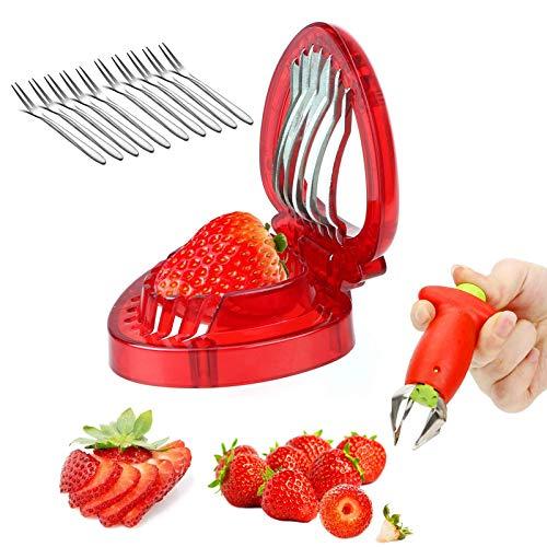 2Pcs cersaty® Équeuteur à Fraises Coupe Fraise professionnel Set ,pour Feuilles Remover Fruits Tomates Pomme ustensile de cuisine,+10 Pcs Fourchette à fruits