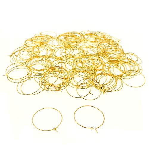 JZK 200 pezzi 30 mm oro anellini anelli segna calici segnabicchieri ciondoli segna bicchieri ciondoli segnaposto, cerchi segna posto ai bicchieri di vino, piccoli anelli metallo per orecchino