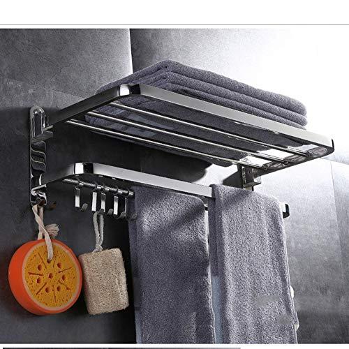 Toalleros Repisa para Baño, Toalleros De Gancho para Baño, Acero Inoxidable 304 Pulido Espejo, con 5 Ganchos,48cm