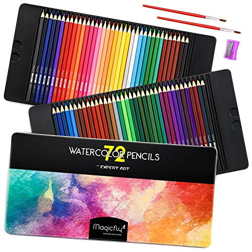 Magicfly Water Color Pencil Set, 72 Colored Pencils Set Premier Soft Lead with 2 Brushes & Pencil Sharpener, Metal Tin Case, Watercolor Pencils for Adult Kids, Art Pencil Set for Coloring Books