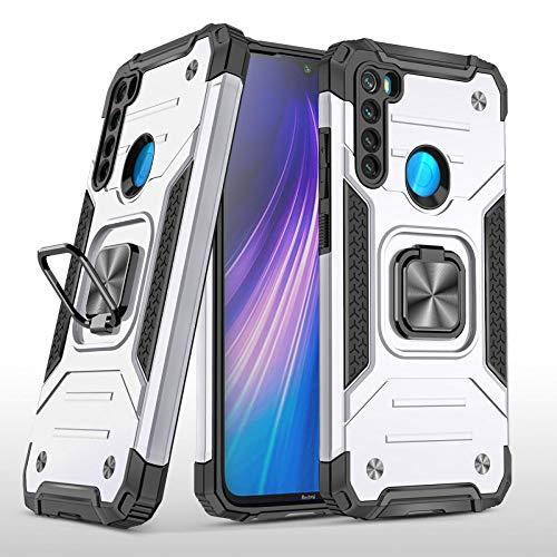 COOVY® Funda para Xiaomi Redmi Note 8 Carcasa de PC + Silicona TPU + PC, Protección extrafuerte, función Atril, Anillo de Soporte y Soporte magnético | Lata