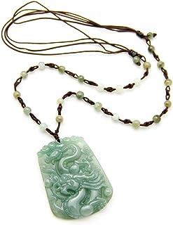 JCA0162014-Agathe Creation-Collana con pendente A forma di fiore, colore: giada, con pietra di giada naturale (categoria A...