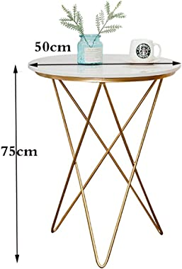 Coffee Table Stylish Wrought Iron Round Coffee Table Marble Tabletop Coffee Table Balcony Tea Round Leisure Table Mini Corner