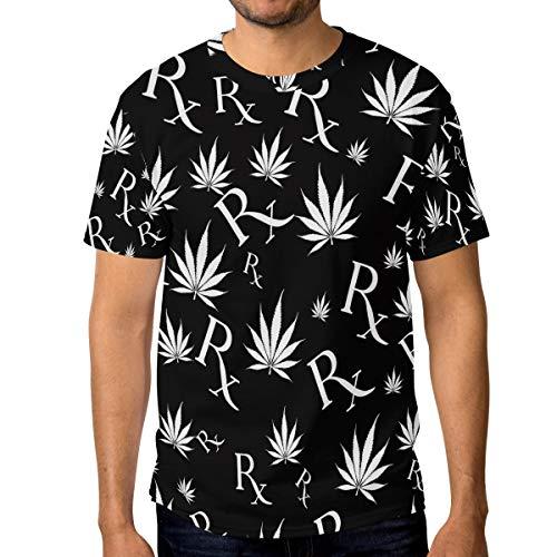 Camiseta de manga corta para hombre con diseño de hoja de marihuana en blanco y negro