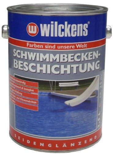Wilckens 2,5 Liter Schwimmbecken Beschichtung Farbe, poolblau, Betonbodenversiegelung Pool Farbe blau inkl. 4er Pinselset von E-Com24 (Poolblau 2,5 Liter)
