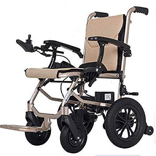AMITD Elektrischer Rollstuhl Mit Doppelter Steuerung Vorne Und Hinten Intelligenter Automatischer Aluminiumlegierungs-Klapproller Für ältere Menschen,Doppelsteuerung, 2 Lithiumbatterien,Beige