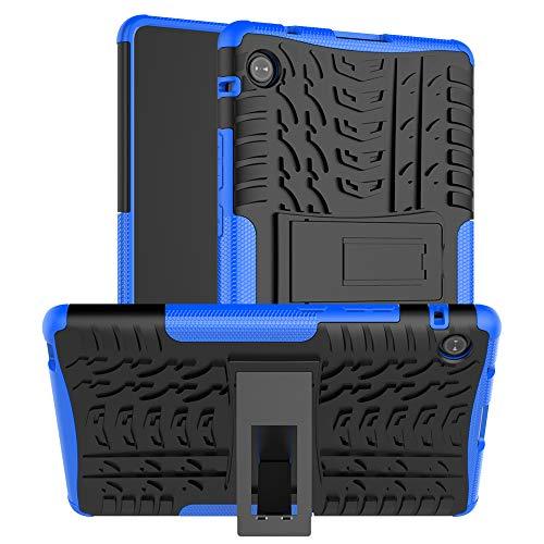 QYiD Funda para Huawei MediaPad T5 10, Doble Capa Híbrida Carcasa a Prueba de Golpes Protector Case con Soporte para Huawei MediaPad T5 10.1' 2018(AGS2-W09/L09/L03/W19), Azul