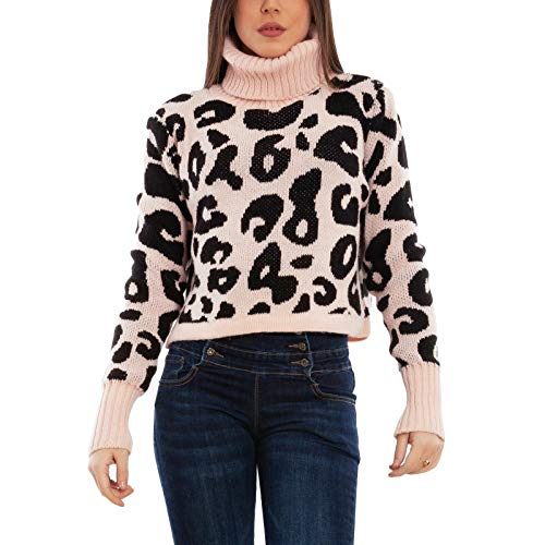 Toocool - Maglione Donna Pullover maculato Leopardato Collo Alto Corto VB-1752 [Taglia Unica,Rosa]