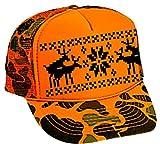 Humping Sex Reindeer Ugly Sweater Mesh Trucker Hat X Mas (Orange Camo)