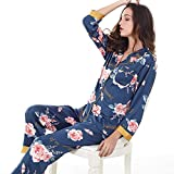 Pijama De Seda De Hielo con Cuello En V De Impresión Pijamas Damas Sueltos Cómodos Pantalones De Manga Larga Chaqueta De Punto De Servicio a Domicilio Traje De Seda Azul