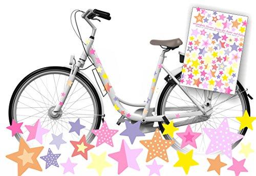 Jabalou Sterne Fahrraudaufkleber Fahrradsticker für Kinder Sticker Aufkleber (Pastell)