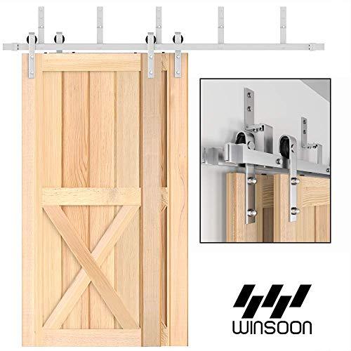 WINSOON 4FT-18FT Modern Sliding Bypass Barn Door Hardware 304 Stainless Steel Double Doors Kit Cabinet Closet System Silver (4FT Bypass Hardware Kit)
