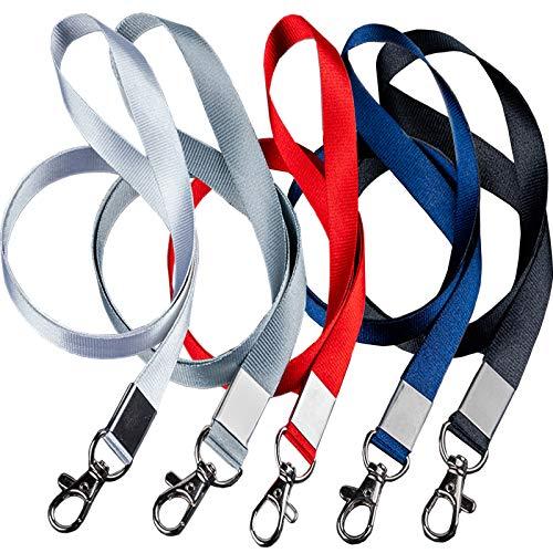 Lanyard for Women Lanyard for Id Badges Red Lanyard, Use to Key Holder/id Holder for Lanyard/Wallet Lanyard/Wrist Lanyard/Wrist Keychain/Lanyard Wallet, Etc. 5PCS(Black White Blue Gray Red)