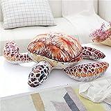 カワイイ シミュレーションカメ動物ぬいぐるみ赤ちゃんおもちゃ綿入り家族装飾ソファ枕 クッション家の装飾 オレンジ 35cm