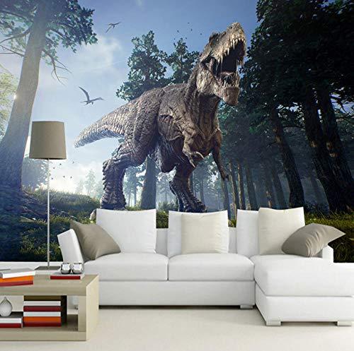 Fotobehang met 3D-effect, behang, vlies, wand, behang, woonkamer, slaapkamer, kantoor, hal, decoratie, wanddecoratie, bos dinosaurus stereo-installatie 400x280cm