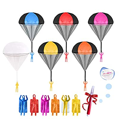 GALOPAR Parachute Toys for Kids, 6 pcs with 1 Watercolor Pen, Tangle Free Throwing Parachute Man Without Battery Nor Assembly, Outdoor Flying Toys for Kids Gift in All Ages