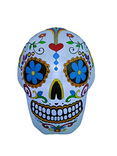 BZB Goods 4 Foot Tall Lighted Halloween Inflatable Colorful Skull LED Lights Decor Outdoor Indoor Holiday Decorations, Blow up Lighted Yard Decor, Giant Lawn Inflatables Home Family Outside
