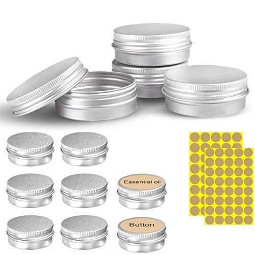 VOARGE 24 stuks set aluminium lege dozen (met 2 stuks ronde sticker), 5 ml draagbaar cosmeticadoosje levensmiddelenbakje, van aluminium voor lotion, crème, maskers, mini-kaarsen, cosmetica