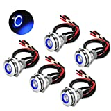 5Pcs 19mm 12V Waterproof ON Off Latching Push Button Switch with Wiring Harness and Led Indicator Light, 24V Pre-Wired SPDT Self-Locking 4 Pin Marine Metal Switch for Boats Cars Truck (Blue)