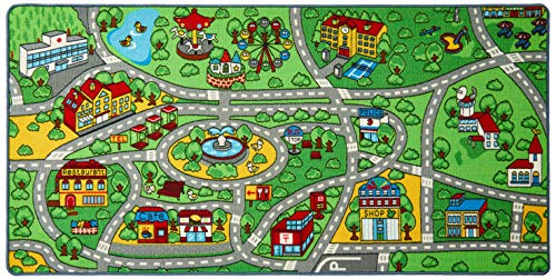 """Click N' Play City Life Kids Road Traffic Play mat Rug Extra Large Non-Slip Carpet Fun Educational for Play Area Playroom Bedroom-Extra Large 79"""" x 40"""""""