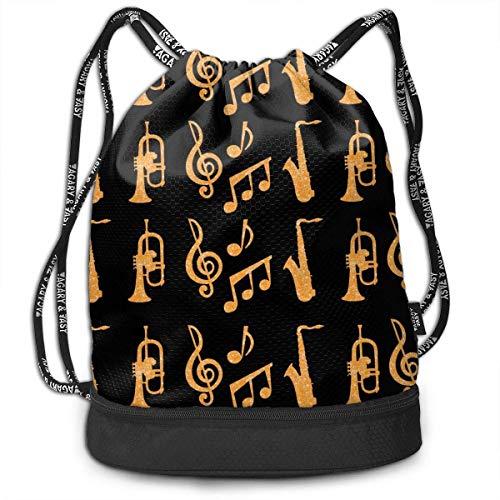 Petrichor Yi Unisex trekkoord rugzak Saxofoon Trompeten muziek goud zwart sport Gym Travel Bundle rugzak tas