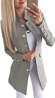 Romacci Women Suit Blazer Button Front Long Sleeve OL Work Ladies Casual Slim Coat Outerwear Grey