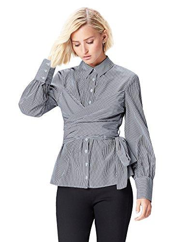 Marca Amazon - find. Vestido Camisero con Cuerpo Anudado para Mujer, Azul (Blue Stripe), 38, Label: S