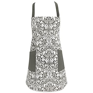 DII Cotton Adjusatble Women Kitchen Apron with Pockets and Extra Long Ties, 37.5 x 29, Cute Apron for Cooking, Baking, Gardening, Crafting, BBQ-Damask Gray