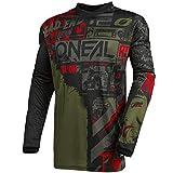 O'NEAL | Motocross-Jersey Langarm | MX Enduro | Gepolsterter Ellbogenschutz, V-Ausschnitt, atmungsaktiv | Element Jersey Ride für Herren | Erwachsene | Schwarz Grün | Größe L