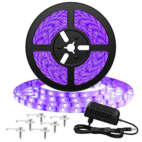 Onforu 5M Striscia UV, 300 LEDs 2835 Luce Nera, 12V UV Strip con Trasformatore, Luce Nastro Fluorescente con Interruttore, UV Luce LED Black Light Decoarare per Interna Feste Bar DJ Club Discoteca