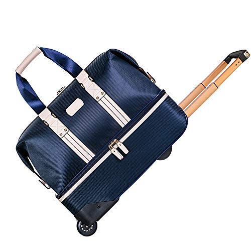 ZoSiP Golf Duffle Bag Sports Fitness Bag Golf Clothing Bag Double-layer Trolley Travel Bag Wheeled Clothing Bag Sports Gym Travel Weekender Duffel Bag (Color : Dark blue, Size : 53x27x40cm)