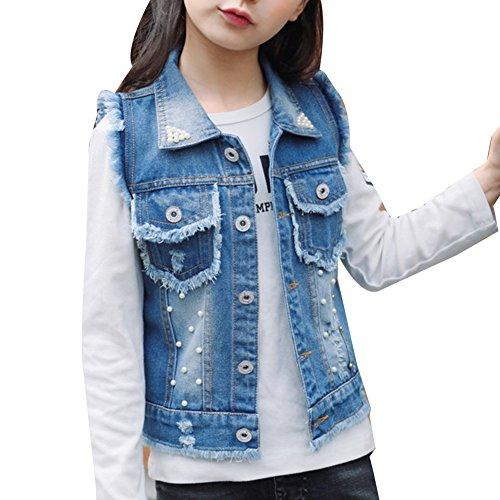 LaoZan Mädchen Jeansweste Beiläufige Ärmellos Denim Weste Jeansjacke Zerrissene Coat Outwear Blau 160CM