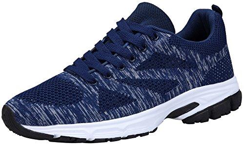 KOUDYEN Unisex Zapatillas Deportivas de Mujer Ligero Running Sneakers Hombre Deporte Zapatos Negro Azul Gris Rojo,fz888-darkblue-EU45