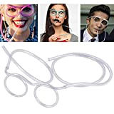 Funny Glasses Straw, Flexible Drinking Straw Novelty Eyeglass Frame Bar Accessories for Birthdays, Bridal Showers, Party Supplies, Favors, Game Ideas(crystal)