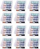 GTIWUNG 12 Piezas Caja de Batería de Plástico, Caja de Almacenamiento para baterías y baterías Recargables - Caja de batería para AA y AAA, Transparente