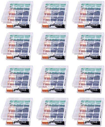 GTIWUNG 12 Stück Batteriebox aus Kunststoff, Transportbox für Akkus/Batterien, Aufbewahrungsbox für Batterien und Akkus - Akkubox für AA und AAA