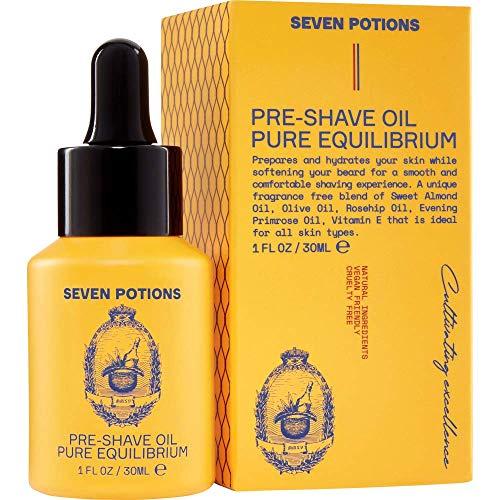 Seven Potions Rasier-Öl Für Männer — Ideal für sensible Haut, beugt Irritationen vor, Reduziert Schnittverletzungen, schütz & pflegt die Gesichtshaut — Rein Natürlich, Biologisch, Vegan (30ml)