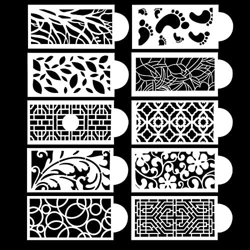 10pcs Torte Stencil, 3D Stencil Decorazioni per Torte, Plastica Stencil Rete di Pizzo Resuable per Matrimonio Torta Fondente di Compleanno, Crema al Burro, Mousse, Cioccolato
