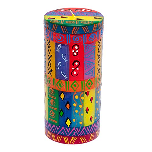 Kapula South African Large Pillar Candle - Fair Trade - Hand Painted Multi Coloured Ethnic Design - Single Wick - 7 x 20 cm