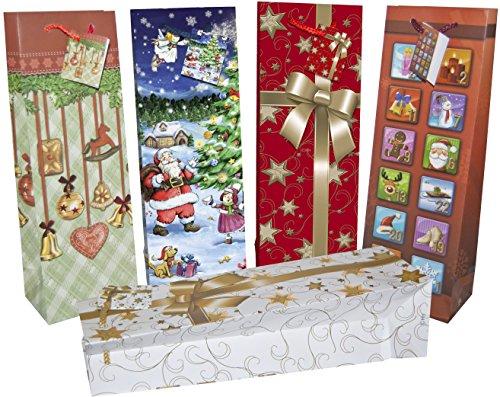 20 Premium Flaschentaschen Weihnachten XL mit Tragekordel und Geschenkanhänger 5-fach sortiert