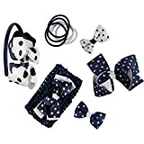 French Toast Kid's School Uniform Polka Dot Headbands and Ponytail Holders, 4-pack, Navy Blue & White, One Size