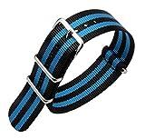 AUTULET 24 millimetri nero/azzurro militari in nylon resistente orologi stile cinghie bande sostituzioni per gli uomini