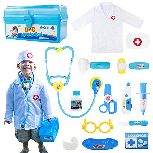 Fajiabao Doctor Kits for Kids Medical Playset Toys Doctor Coat Indoor Family Cosplay Party Games Dress Up Costume Role...