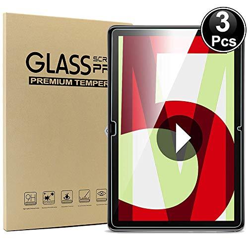 Ash-case Glas Bildschirmfolie [3 Stück] für Huawei MediaPad M5 Lite LTE(10,1 Zoll), 9H Festigkeit, Anti-Kratzer, Anti-Öl, Anti-Bläschen, 2.5D R&e Kante