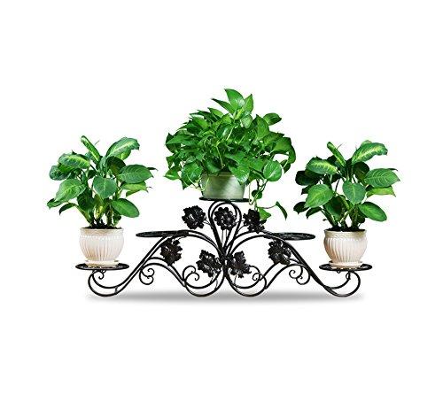 Gartenarbeit-CSQ Schmiedeeisen Blumenständer / Pflanzenständer, fünf Etagen Blumenmuster symmetrisch auf beiden Seiten Balkon Garten Dachboden Blumen Regal ( Color : #1 , Size : 127*42CM )