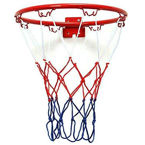 tellaLuna 32 cm montado en la pared aro de baloncesto de malla de metal para colgar canasta de la bola de la canasta de pared con tornillos interior y exterior deporte
