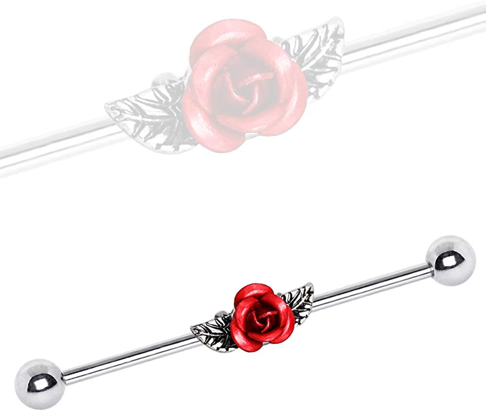 Covet Jewelry 316L Stainless Steel Red Rose Industrial Barbell