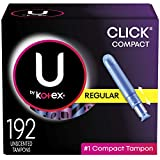 U by Kotex Click Compact Tampons, Regular, Unscented, 192 Count (6 Packs of 32) (Packaging May Vary)