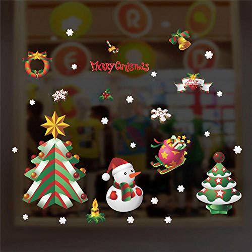 New Year Tree Snowman Snowflake Wall Stickers Bedroom Window Home Decor Merry Christmas Wall Decals PVC Mural Art DIY Wallpaper
